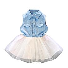 Toddler Baby Kid Girl Princess Party Clothes Denim Sleeveless Tulle Tutu Dresses