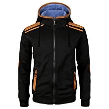 Men's Autumn Winter Long Sleeve Zipper Hooded Sweatshirt Tops Blouse BK/L- Black