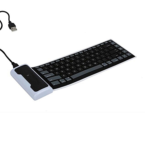 USB Mini Flexible Silicone Keyboard Foldable for Laptop Notebook -Black