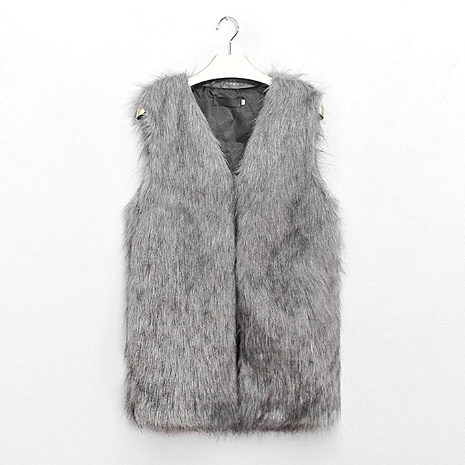 17bdf5c5e35a TB Ladies Faux Fur Sleeveless Vest Waistcoat Gilet Wrap Shrug Jacket Coat  Outwear light gray