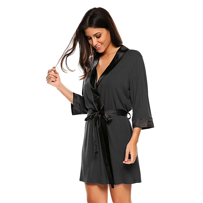 ... Women s Soft Spa Robe Collar Lightweight 3 4 Sleeve Sleepwear ( Black )  ... eddb026f5