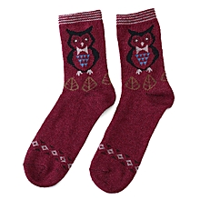 Men Women Owl Pattern Warm Soft Socks Multi-color Soft Middle Tube Socks