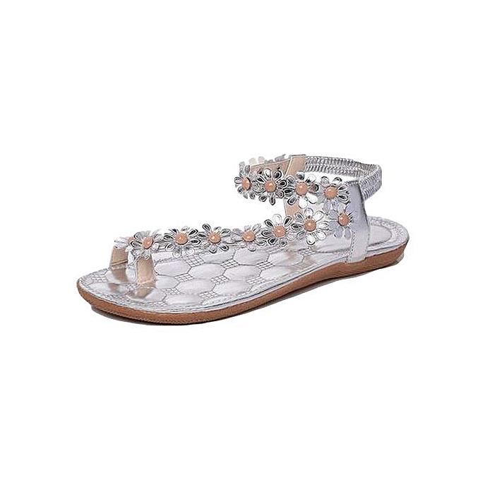 6348d4d4b604d Xingbiaocao Summer Bohemia Sweet Beaded Sandals Clip Toe Sandals Beach Shoes  -Silver