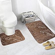 Bathroom Rug Mats Set 2 Piece Dolphin Memory Foam Extra Soft Shower Bath Toilet Rugs Floor Mat