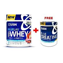Blue Lab 100% Whey Protein - 454g - Strawberry + Free Creatine 150g
