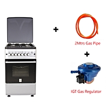 Free Standing Cooker, 4Gas Burners, Gas Oven MST55PIAGSL/SD - With 2M German Technology Gas Pipe and IGT Snap On Compact Low Pressure Regulator - Silver and Black