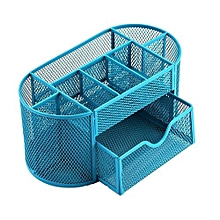 Pen Pencils Mesh Holder Stationery Container Desk Tidy Organiser Office School-Blue