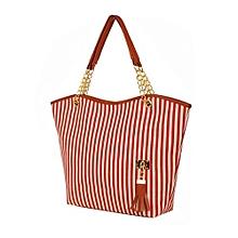 Women Girl Stripe Tassels Chain Canvas Shopping Handbag Shoulder Tote Shop Bag