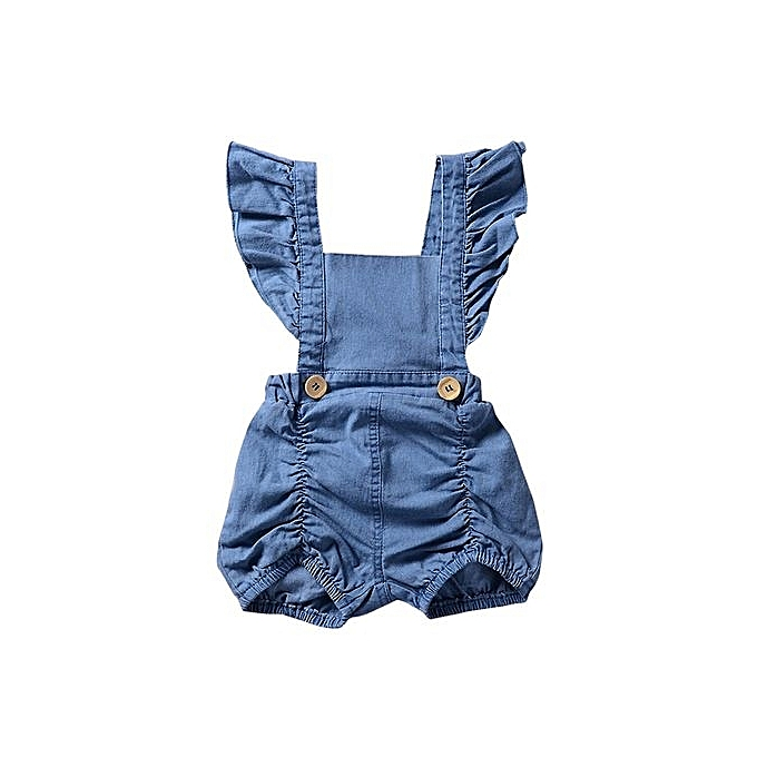 a4fc1d483a3d Eissely Newborn Infant Baby Girl Denim Ruffles Romper Jumpsuit ...