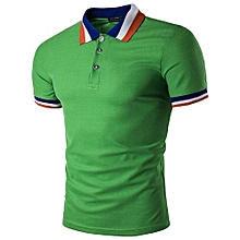 Knit-ribbed Striped Contrast Collar Polo Shirt (Green)
