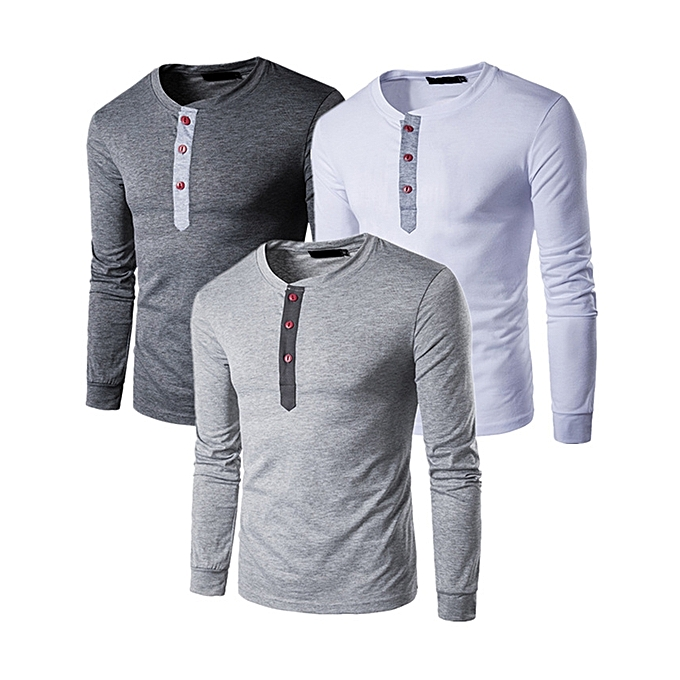 (3 pieces) Men s Long Sleeve T-Shirt Comfort Soft Cotton Casual Beefy Henley 6661e1d8f1d