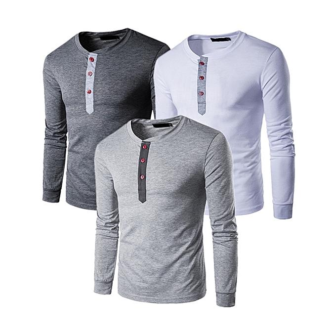 (3 pieces) Men s Long Sleeve T-Shirt Comfort Soft Cotton Casual Beefy  Henley Shirt Multicolor 574e3ab4372