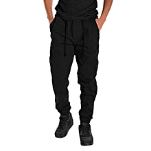 Men Casual Drop Crotch Sport Pants - Black