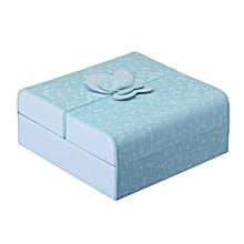 Stylish Leather Jewelry Storage Box Double Door Ornaments Makeup PU Cosmetic Case Color:Blue Size:15*15*6.5cm