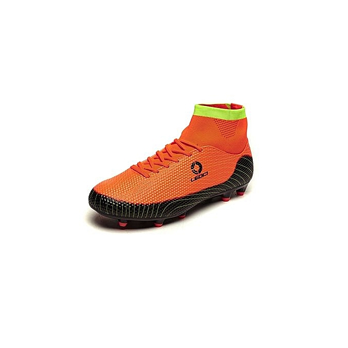 57ecab16f Generic Ankle Soccer Cleats Mens Football Boots High Top Turf Soccer Shoes  Football Cleats Football Shoes Indoor Boys Youth Sneakers Spikes - Orange