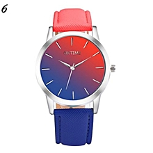 Candy Color Leather Quartz Wristwatch For Students #6 - Red & Blue
