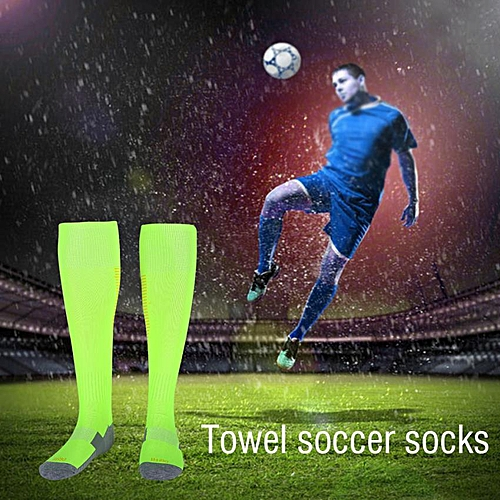 3ea32ed4dbd Generic 1Pair Set Men Soccer Football Sport Knee-High Thick Tube Socks  (Fluorescent Green Orange Stripes)