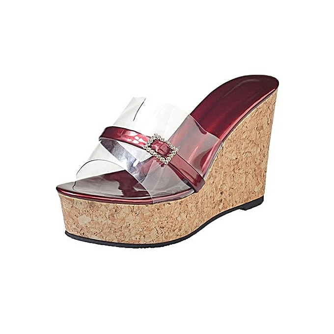 01f1e7285 Bliccol High Heel Shoes Women Summer Transparent Slipper Height Increasing Wedges  Platform Sandals Shoes-Wine