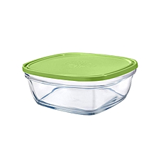 Lys Square Stackable Bowl - 14cm - Clear with Green Lid