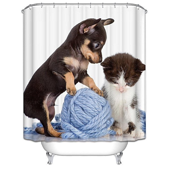 Dog And Cat Folding Waterproof Shower Curtains For Bathroom 165180cm Black
