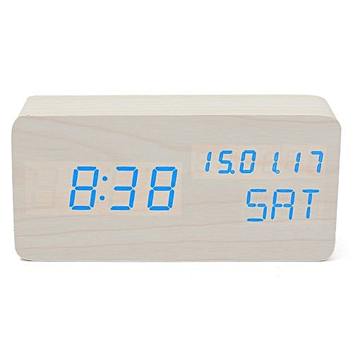 c77740d7a562 Modern Cube Wooden Wood Digital LED Desk Voice Control Alarm Clock  Thermometer LED Color Blue