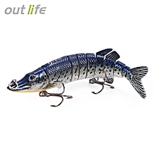 9-segement Multi-jointed Pike Muskie Fishing Lure With Treble Hook Artificial Bait Tackle 12.5cm 20g - Multi