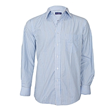 White With Sky Blue Striped Long Sleeved Shirt
