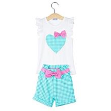 Girls 2Pcs Bowknot Heart Patern Clothing Set - Green - 100