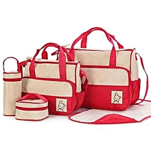 5pieceDiaper Bag, Multi Pockets Waterproof Nappy Bag For Travel, Large Capacity and Stylish- Red