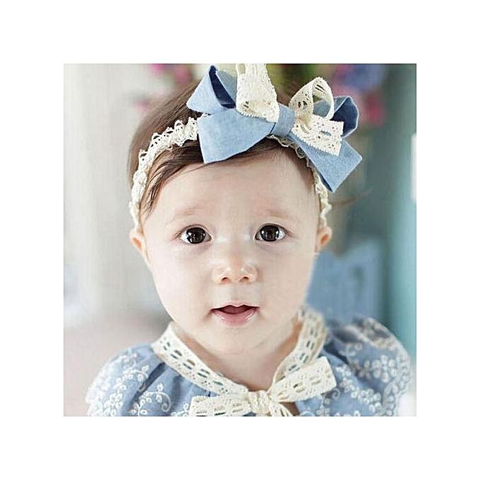 Braveayong Sweet Girl Head Accessories Hairband Baby Bowknot Lace Headwear  SB -Sky Blue c1e3054ae05