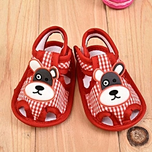 Refined Baby Girl Soft Bottoms Sandals 1-10 Monthes Baby Kids Printing Bear Antiskid Shoes-Red