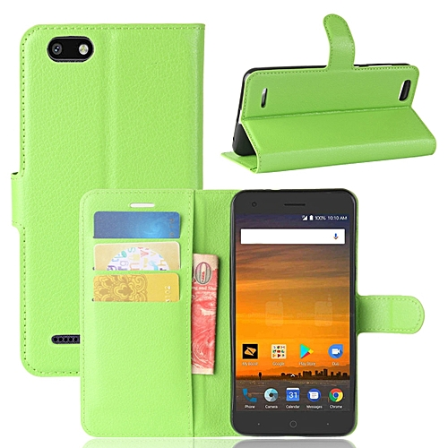 new style c08ec e5324 ZTE Blade Force / N9517 Litchi Texture Horizontal Flip Leather Case with  Holder and Card Slots and Wallet (Green)