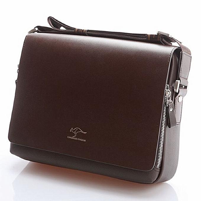 0dad6cefa0aa Designer Brand Kangaroo Briefcase Men Soft Leather Shoulder Travel Bag  Business office Computer laptop bag Cover Messenger Bags(S 17x19x7 cm)