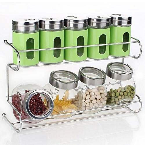 b8665bd55992 10 Pcs/set Seasoning Box Condiment Food Container Kitchen Storage Jar -Green