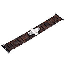 ZS - B01 24MM Wooden Watch Band Butterfly Clasp Wristband-Ebony-Ebony