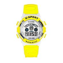Waterproof Males Boys LED Digital Quartz Alarm Date Sports Wrist Watch YE-Yellow