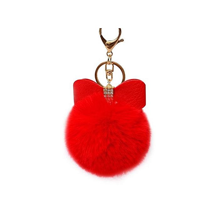 d4929fecc7 Braveayong Fluffy Faux Rabbit Fur Ball Bowknot Charm Car Keychain Handbag  Key Ring RD -Red