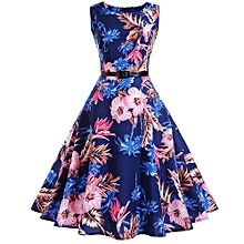 High-end Women Vintage Printing Bodycon Sleeveless Halter Evening Party Prom Swing Dress
