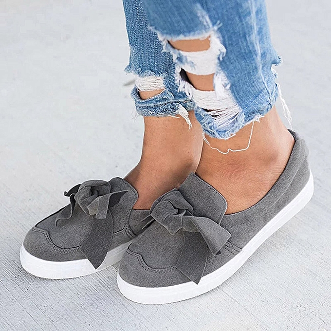 Women s Ladies Shoes Flat Bowknot Slip On Sneakers Fashion Girls Casual  Shoes cfa6a0140