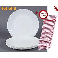 6Pcs Diva Classique Dinner Plates - Plain White (+ Free Gift Hand Towel).