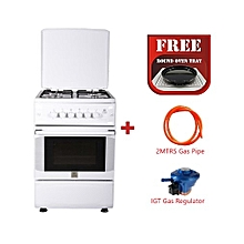 Free Standing Gas Cooker, 50cm X 55cm, 4Gas Burners Gas Oven, Rottiserrie - MST55PIAGWH/SD,  + Free Oven Tray, With 2M German Technology Gas Pipe and IGT Snap On Compact Low Pressure Regulator - White.