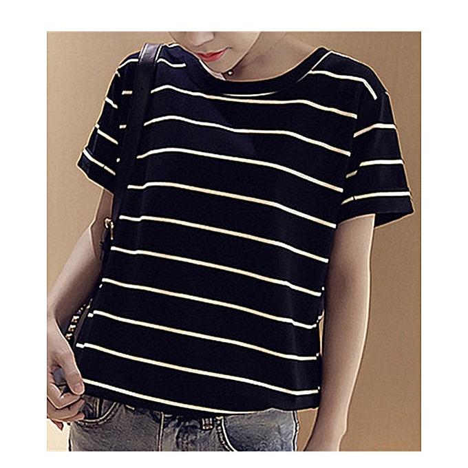 471afb0fc6f8e Women s Summer Short Sleeve Striped T-Shirt Tee Tops Casual Round Neck  Stripes Blouses