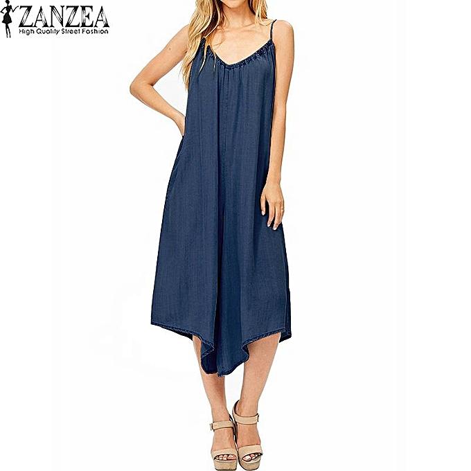 392de95129 ZANZEA Women Cotton Jumpsuit Playsuit Romper Bib Pants Wide Leg Overalls