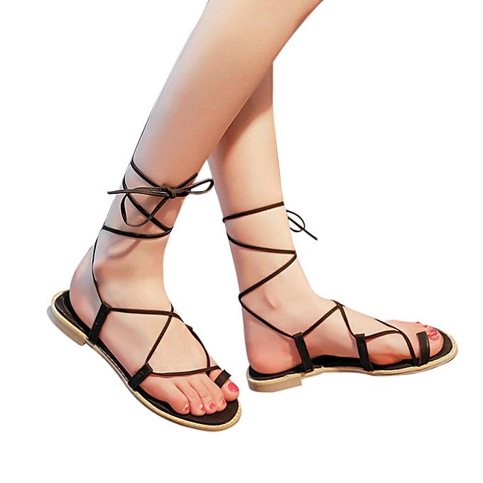 b64e750b780 Fashion Blicool Shop Women Sandals Women Cross Strap Roman Gladiator Sandals  Strappy Thong Flat Flip Flops Shoes-Black