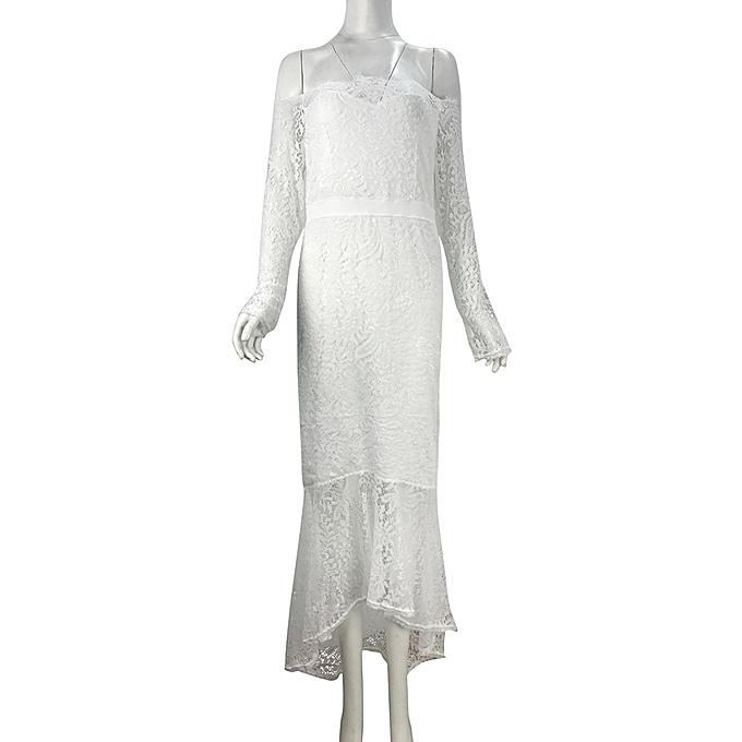 a5b95ded6239 ... Hiaojbk Store Women s Work Wear Dresses Casual Off Shoulder Lace Dress  Loose Party Dress-White