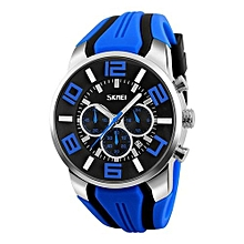 9128 Luxury Brand Quartz Silicone Watches Men Fashion Casual Wristwatches Waterproof Sport Watch - Blue