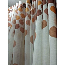 Brown polca dot curtains-2pcs and a sheer