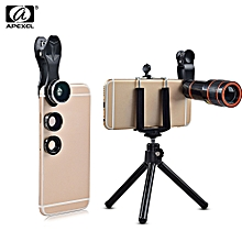 APEXEL APL - HS12XDG3ZJ 12X Zoom Telephoto + 0.63X Wide Angle + 198 Degree Fisheye + 15X Macro Lens + Tripod 5 in1 Clip External Phone Camera BLACK