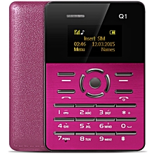 Q1 1.0 inch Ultra-thin Card Phone FM Audio Player Sound Recorder Calendar Calculator-PINK
