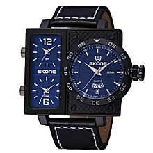 Skone New  Big Case Men Watch Quartz Top Luxury Brand Leather Strap Clock Business Wristwatch Men relogio masculino (Blue) BDZ